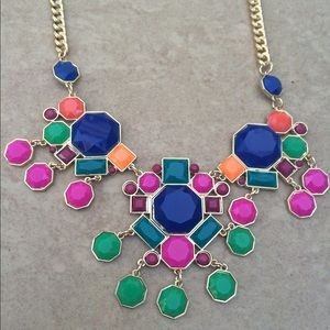 Gold Tone Multi Color Geometric Statement Necklace